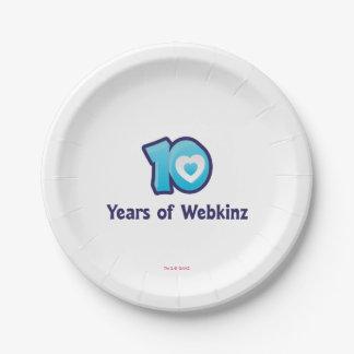 10 Years of Webkinz Logo 7 Inch Paper Plate