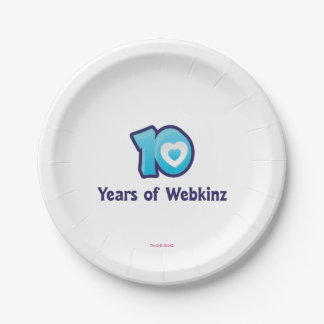 10 Years of Webkinz Logo Paper Plate