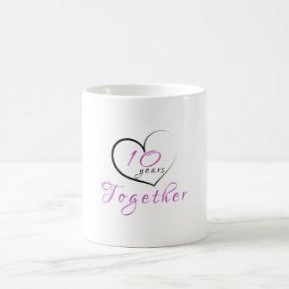 10th Anniversary 10 Years Together Heart Mug