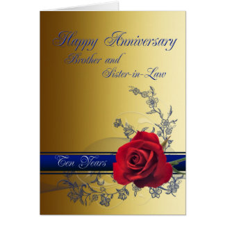 10th Anniversary card,Brother and Sister-in-law Card