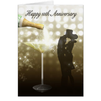 10th Anniversary - Champagne Greeting Card