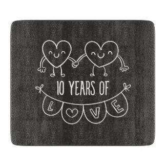 10th Anniversary Gift Chalk Hearts Cutting Board