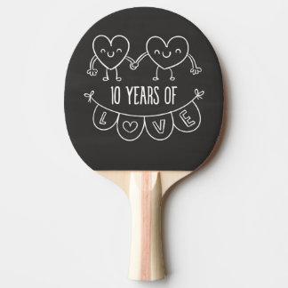 10th Anniversary Gift Chalk Hearts Ping Pong Paddle