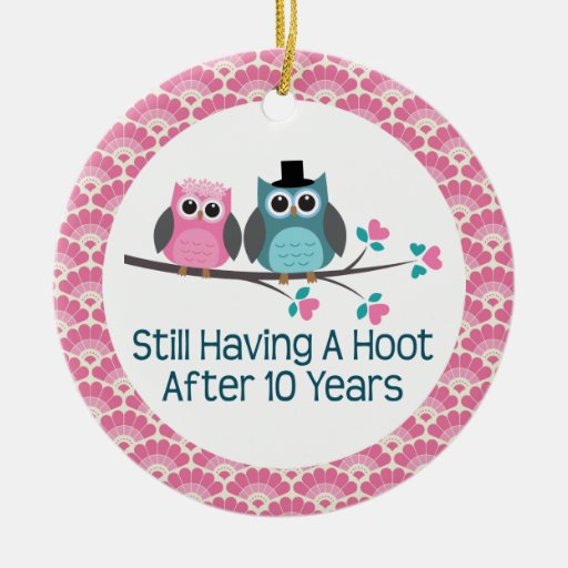 10th Anniversary Owl Wedding Anniversaries Gift Ornament