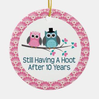 10th Anniversary Owl Wedding Anniversaries Gift Round Ceramic Decoration