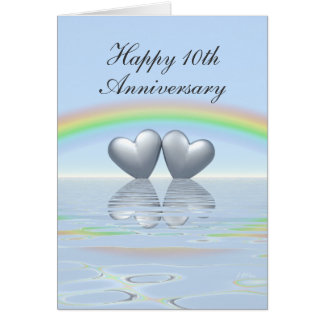 10th Anniversary Tin Hearts Card