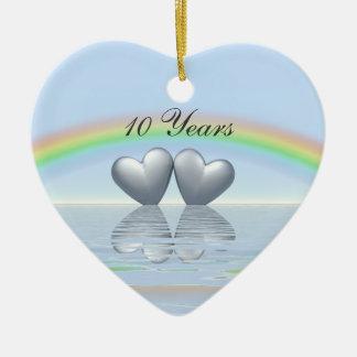 10th Anniversary Tin Hearts Christmas Ornament