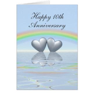10th Anniversary Tin Hearts Greeting Card