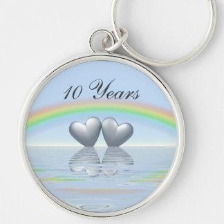 10th Anniversary Tin Hearts Key Ring