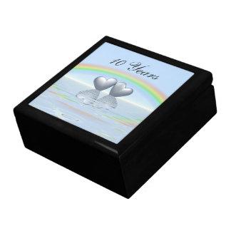 10th Anniversary Tin Hearts Large Square Gift Box