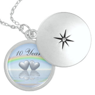 10th Anniversary Tin Hearts Locket Necklace