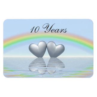 10th Anniversary Tin Hearts Magnet