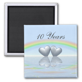10th Anniversary Tin Hearts Square Magnet