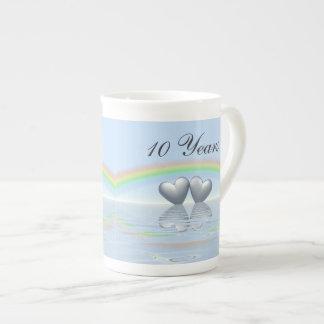 10th Anniversary Tin Hearts Tea Cup