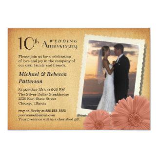 "10th Anniversary Vintage Daisy Photo Invitations 5"" X 7"" Invitation Card"