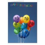 10th Birthday Card coloured balloons