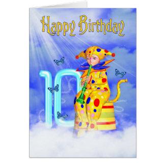 10th Birthday Card - Cute Little Pixie Clown