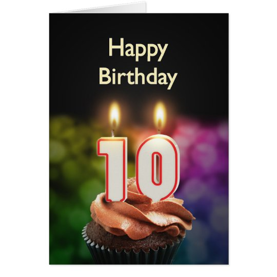 10th Birthday card with Candles