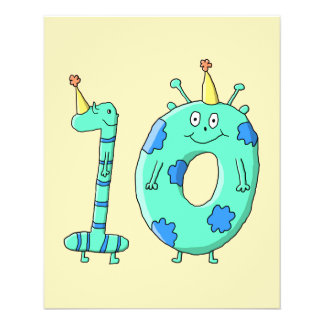10th Birthday Cartoon, Teal Green and Blue. 11.5 Cm X 14 Cm Flyer