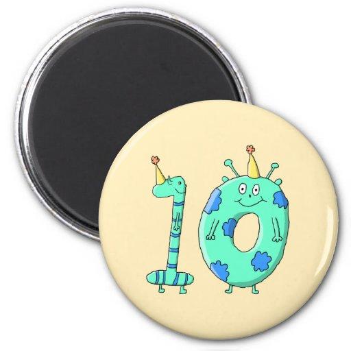 10th Birthday Cartoon, Teal Green and Blue. Fridge Magnets
