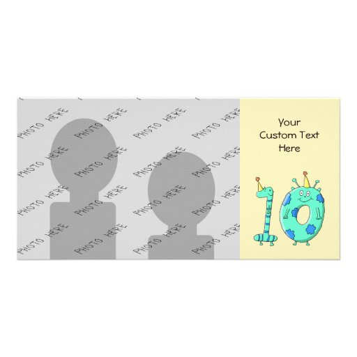 10th Birthday Cartoon, Teal Green and Blue. Photo Greeting Card