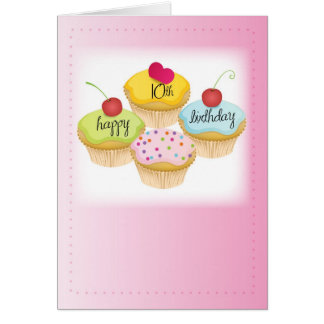10th Birthday Cupcakes, Pink Greeting Card