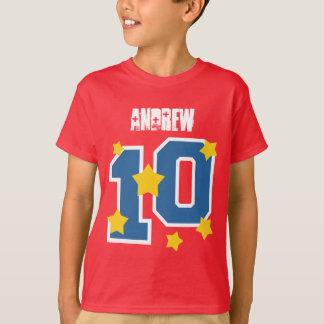 10th Birthday Custom Name GOLD STARS V04 T-Shirt