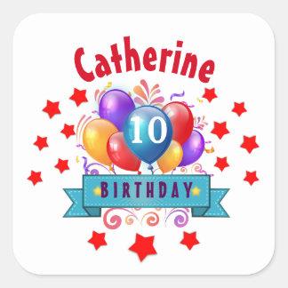 10th Birthday Festive Colorful Balloons V10F Square Sticker