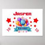 10th Birthday Festive Colourful Balloons V10FZ Poster