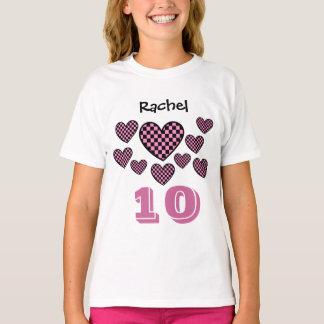 10th Birthday Girl Checkered Hearts Big Number T-Shirt