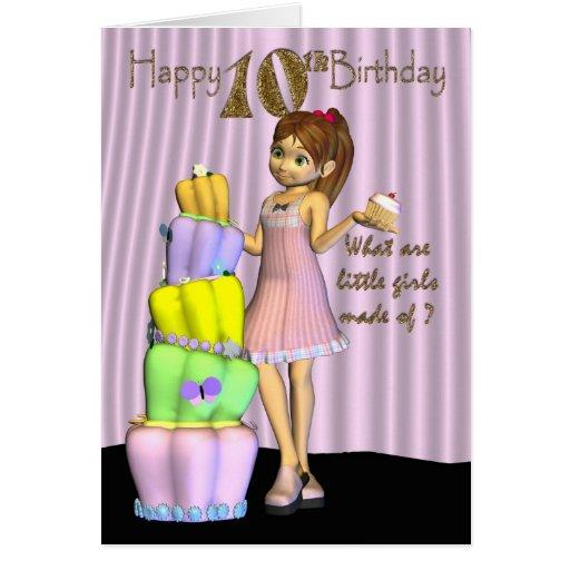 10th Birthday, Happy Birthday Card Little Girl Wit