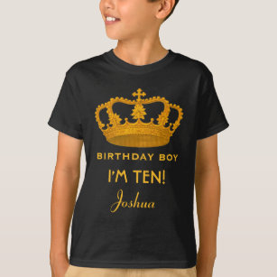 10th Birthday King Custom Name Royal Crown W25 T Shirt
