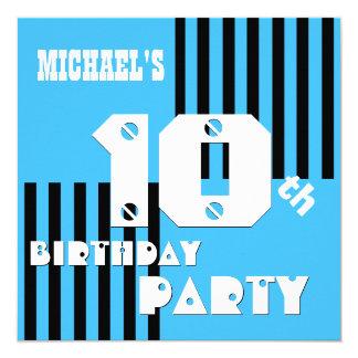 10th Birthday Modern Blue Black Stripes T6A Customized Announcement Card