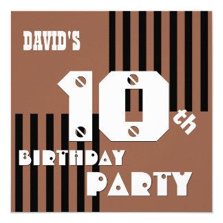 10th Birthday Modern Brown Black Stripes T5B Personalized Invitation