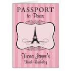 10th Birthday Paris Passport Invitation
