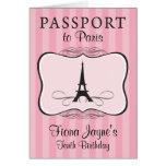 10th Birthday Paris Passport Invitation Note Card