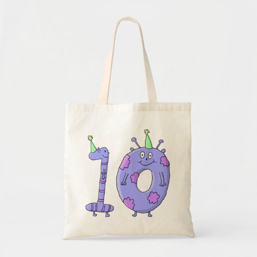 10th Birthday Party Cartoon Creatures. Tote Bags