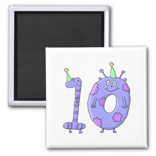 10th Birthday Party Cartoon Creatures. Fridge Magnets