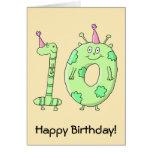 10th Birthday Party Cartoon - Green. Greeting Card