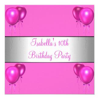 10th Birthday Party Pretty in Pink Bright Balloons 13 Cm X 13 Cm Square Invitation Card
