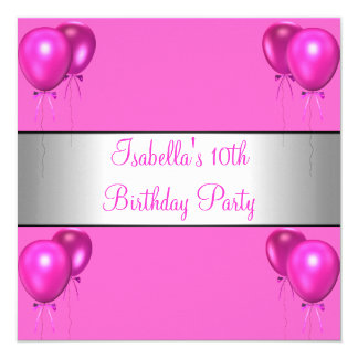 10th Birthday Party Pretty in Pink Bright Balloons Card