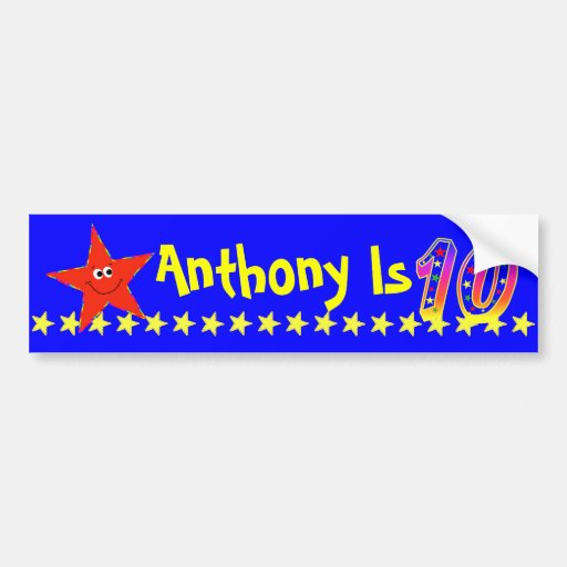 10th Birthday Party Red Smiley Star Decoration Bumper Sticker