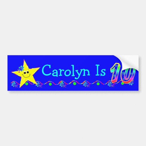 10th Birthday Party Smiley Stars Bumper Stickers