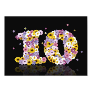 10th Birthday party, with flowered letters 5x7 Paper Invitation Card