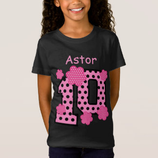 10th Birthday Pink Polka Dots Custom Name V025A5 T-Shirt