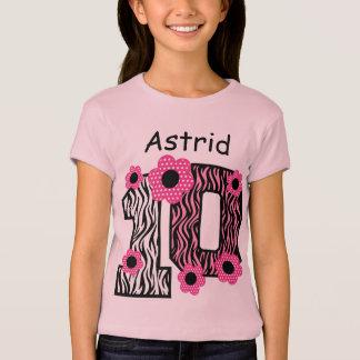 10th Birthday Pink Zebra Custom Name V025A4A T-Shirt