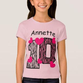 10th Birthday Pink Zebra Custom Name V025A5 T-Shirt