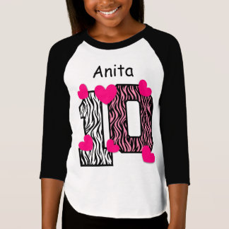 10th Birthday Pink Zebra Custom Name V025A6 T-Shirt