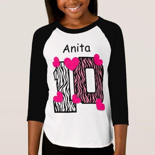 10th Birthday Pink Zebra Custom Name V025A6 T-Shirt