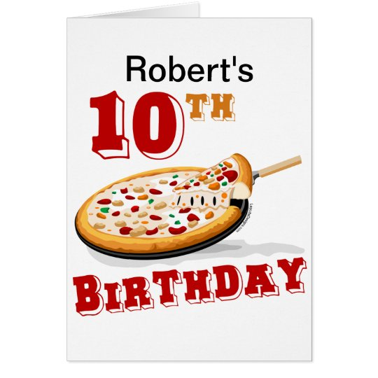10th Birthday Pizza Party Card